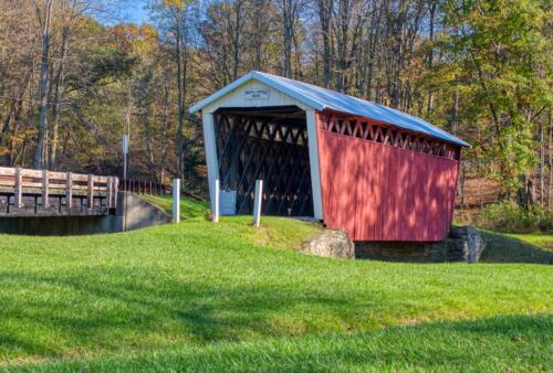 Trusal Covered Bridge  20.5  Pictorial  Gold  Terry  Ross-Poulton