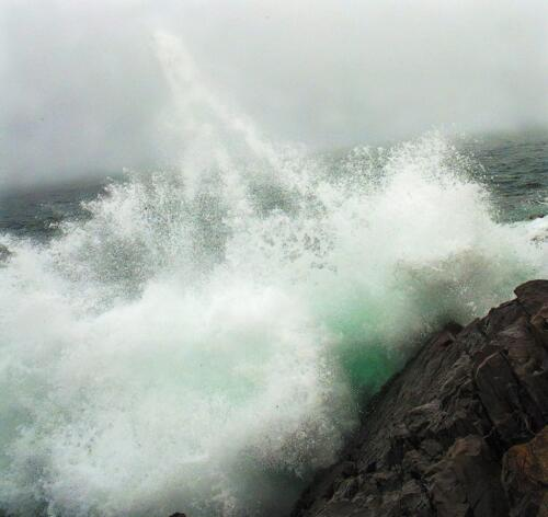 Atlantic wave  20  Pictorial  Bronze  Carey  Hope  Good attempt at a capture of the wave against the rocky shore. The rocks are sharp, but the wave seems overexposed and lacks sharpness.  In addition, the horizon slants to the left, and there is noise in the water and sky,