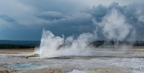 Yellowstone Geyser 21.5 Pictorial Gold Kathy Leisti