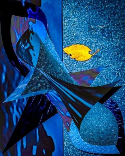 Gold Leaf on Blue Abstract 22.5 Kathryn Martin  Creative Gold