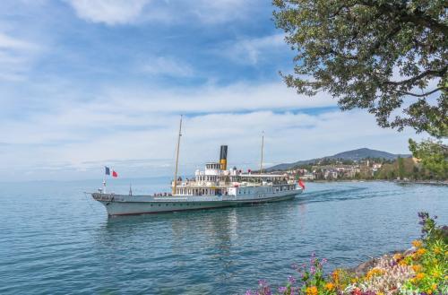 Lake Geneva Paddle Steamer 7.5 7.5 7.5 22.5 Bertin Francoeur  Pictorial Gold