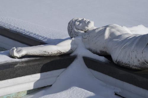 Jesus In Snow 7.5 7.5 7.5 22.5 TC BPP Caroline Way  Pictorial Bronze